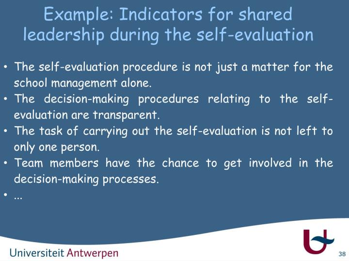 Example: Indicators for shared leadership during the self-evaluation