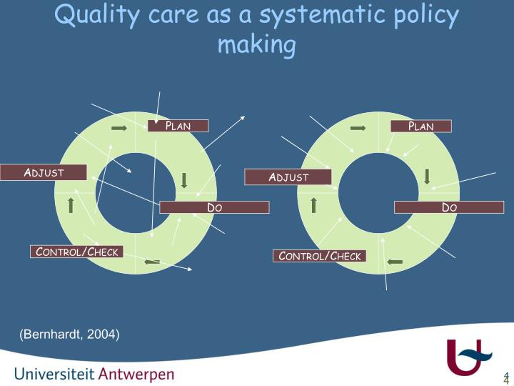Quality care as a systematic policy making
