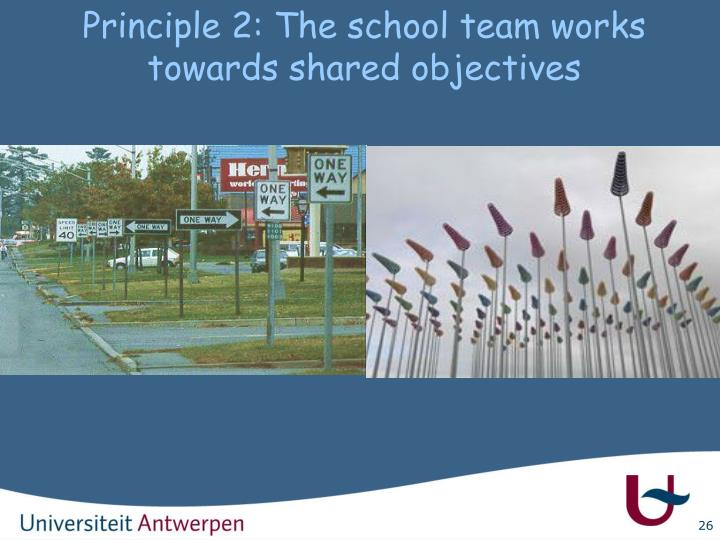 Principle 2: The school team works towards shared objectives