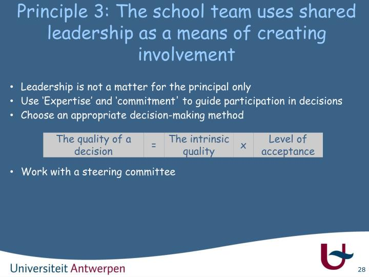 Principle 3: The school team uses shared leadership as a means of creating involvement