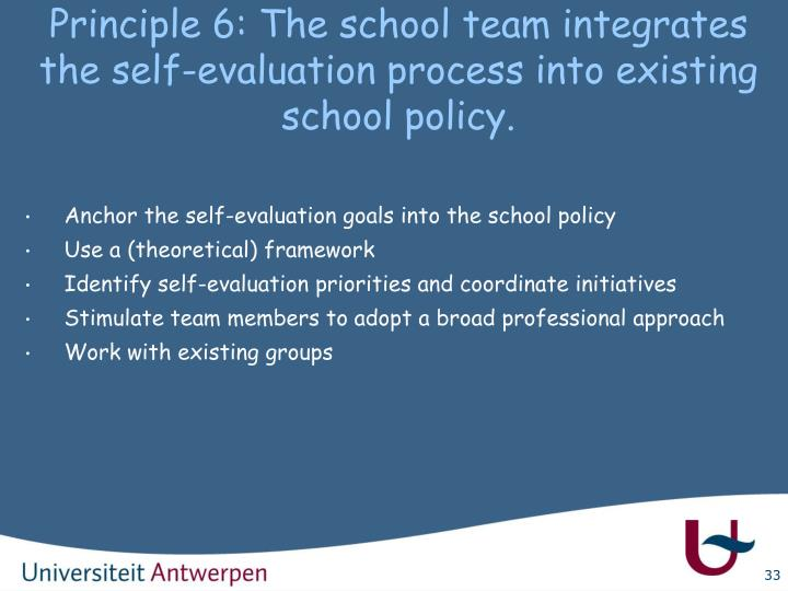 Principle 6: The school team integrates the self-evaluation process into existing school policy.