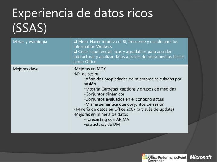 Experiencia de datos ricos (SSAS)