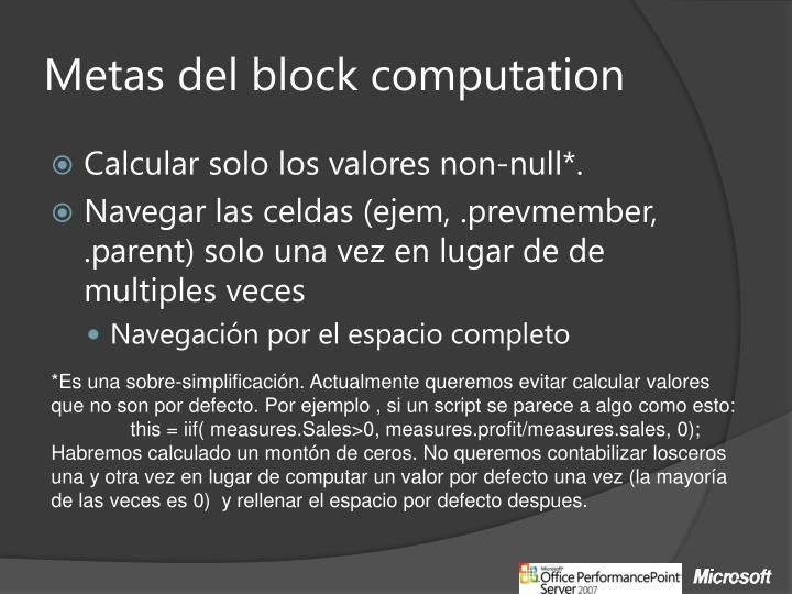 Metas del block
