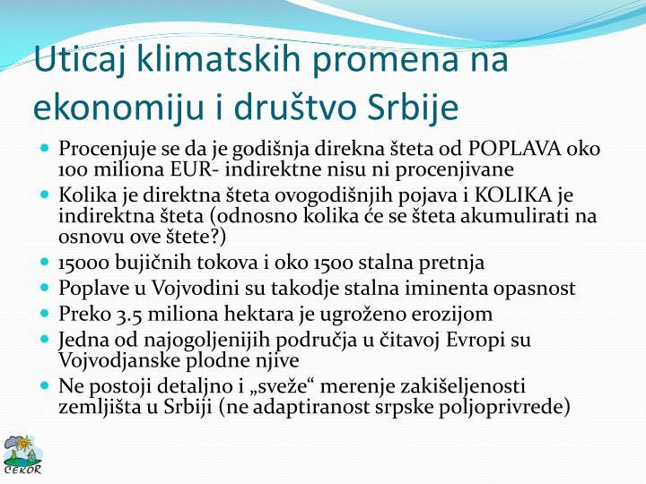 Uticaj klimatskih promena na ekonomiju i društvo Srbije
