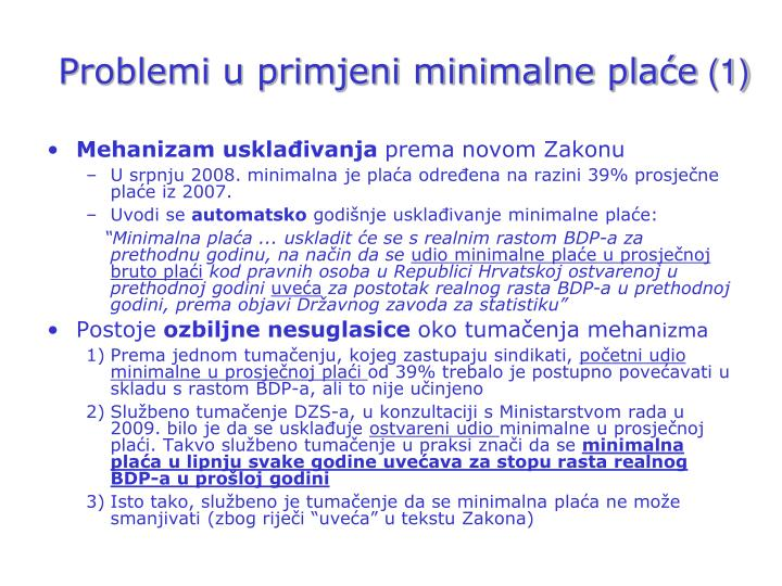 Problemi u primjeni minimalne plaće