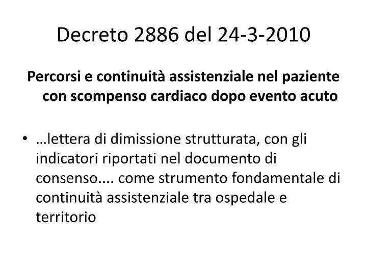Decreto 2886 del 24-3-2010