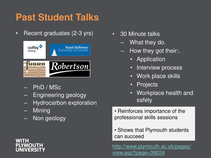 Past Student Talks