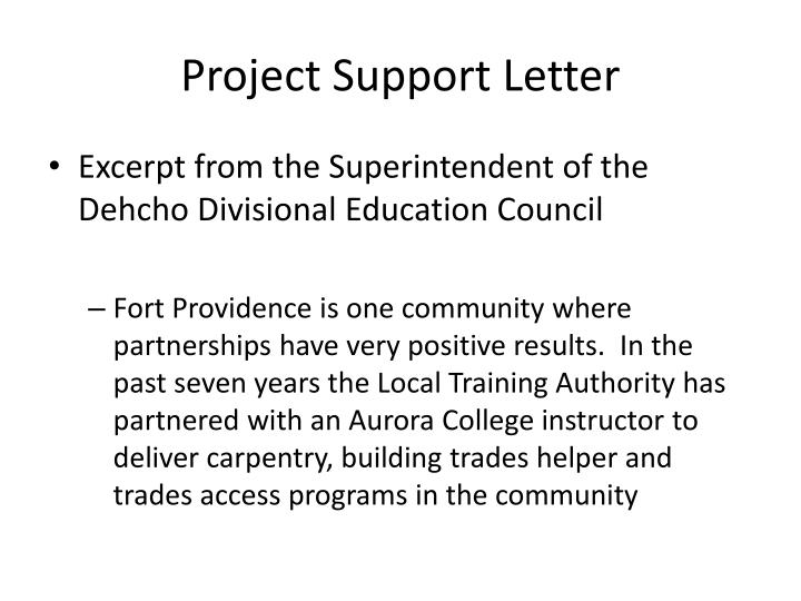 Project Support Letter