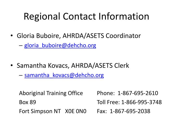 Regional Contact Information