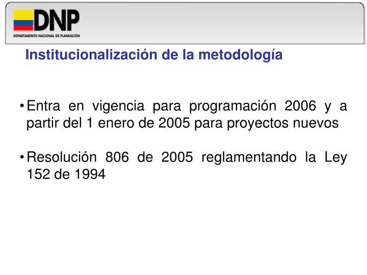 Institucionalización de la metodología