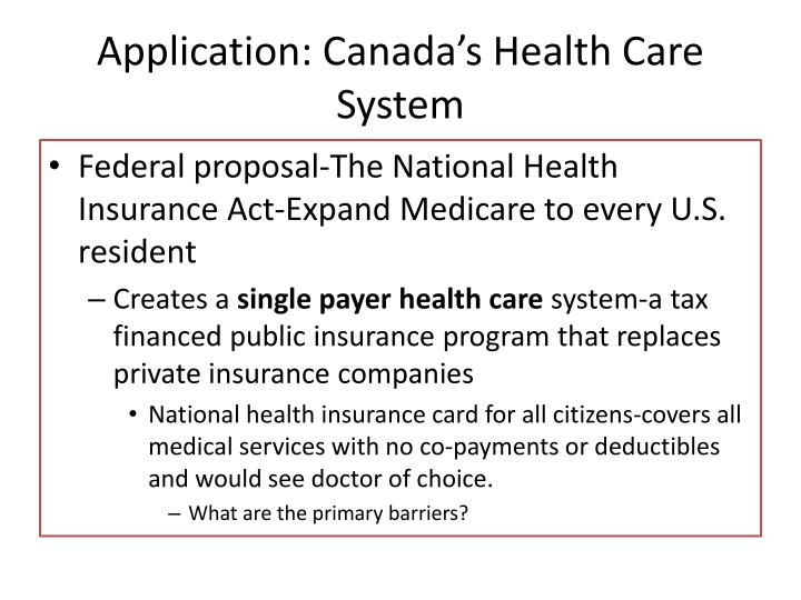 Application: Canada's Health Care System