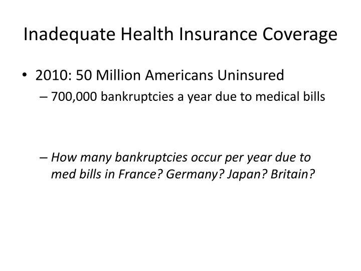 Inadequate Health Insurance Coverage