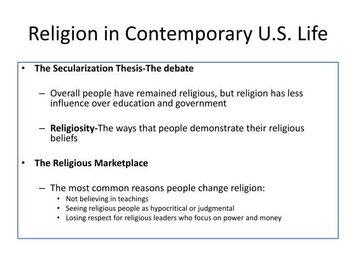 Religion in Contemporary U.S. Life