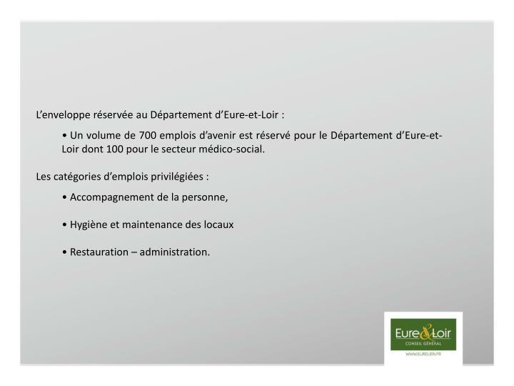 L'enveloppe réservée au Département d'Eure-et-Loir :