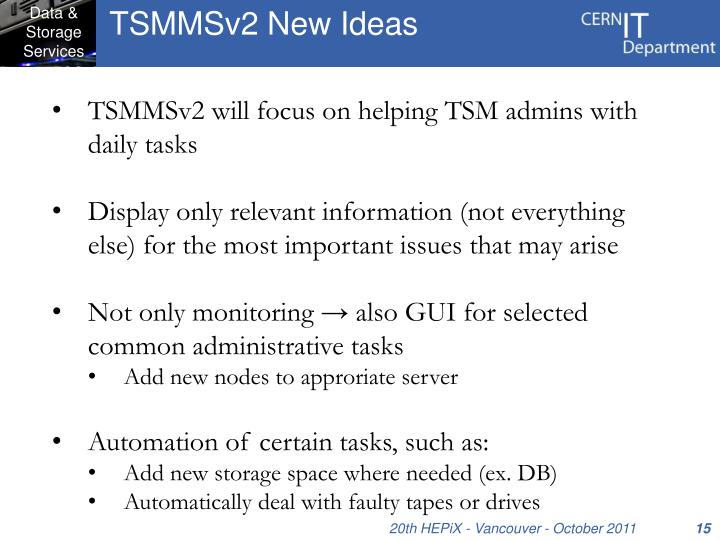 TSMMSv2 New Ideas