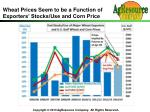 wheat prices seem to be a function of exporters stocks use and corn price