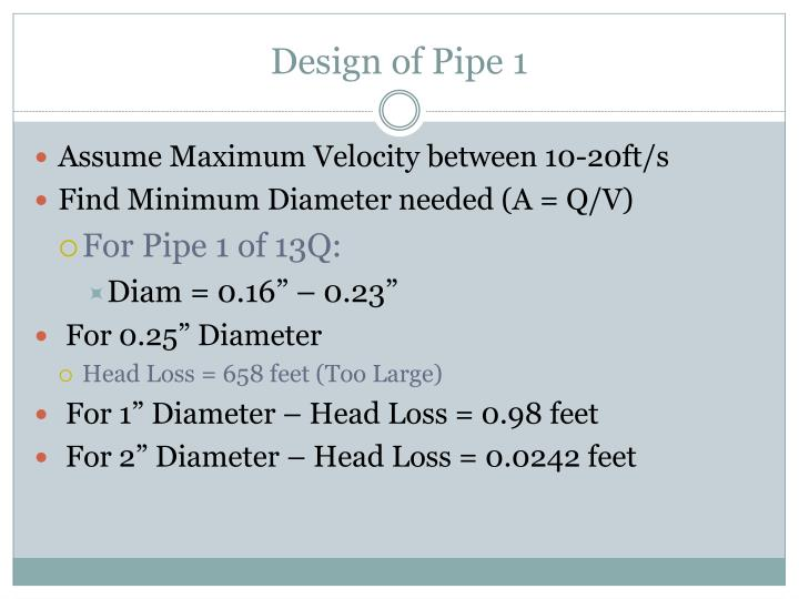 Design of Pipe 1