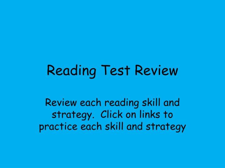 Reading test review