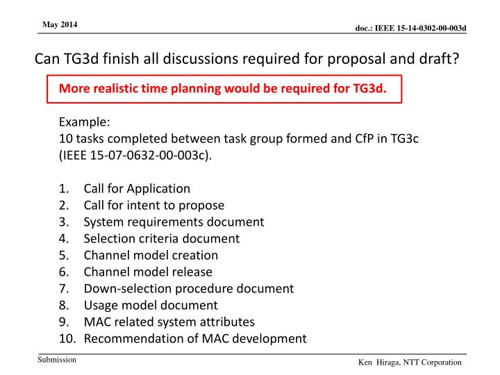 Can TG3d finish all discussions required for proposal and draft?