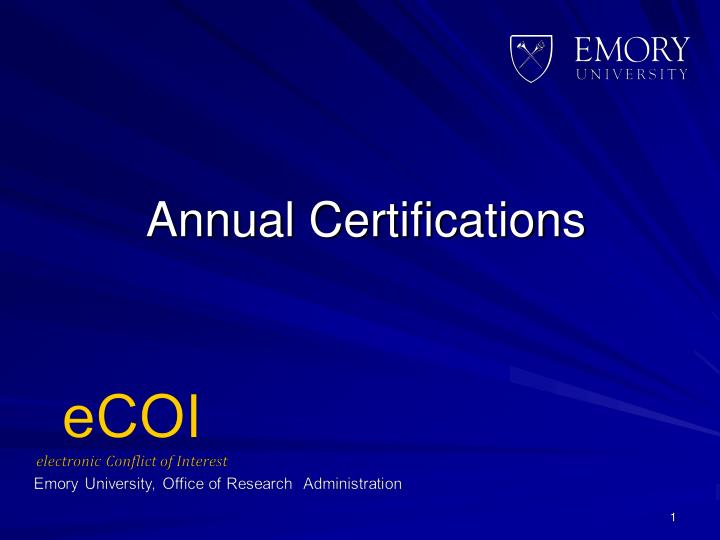 Annual Certifications