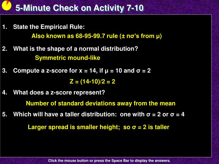 5-Minute Check on Activity