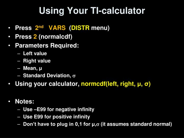 Using Your TI-calculator