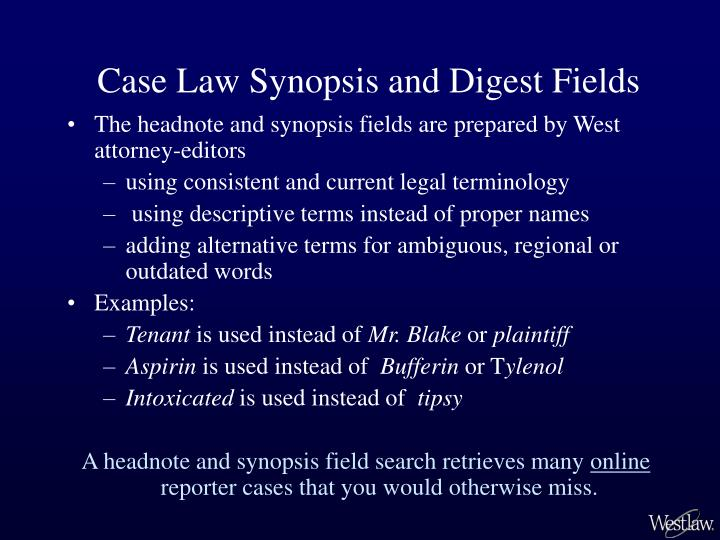 Case Law Synopsis and Digest Fields