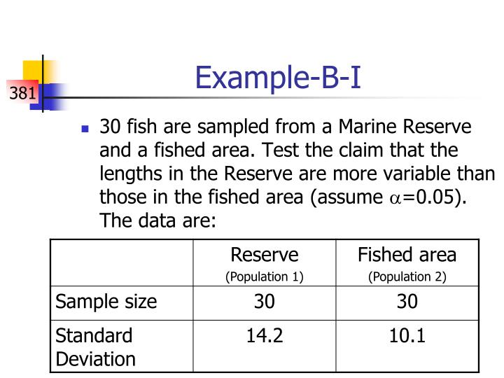 30 fish are sampled from a Marine Reserve and a fished area. Test the claim that the lengths in the Reserve are more variable than those in the fished area (assume