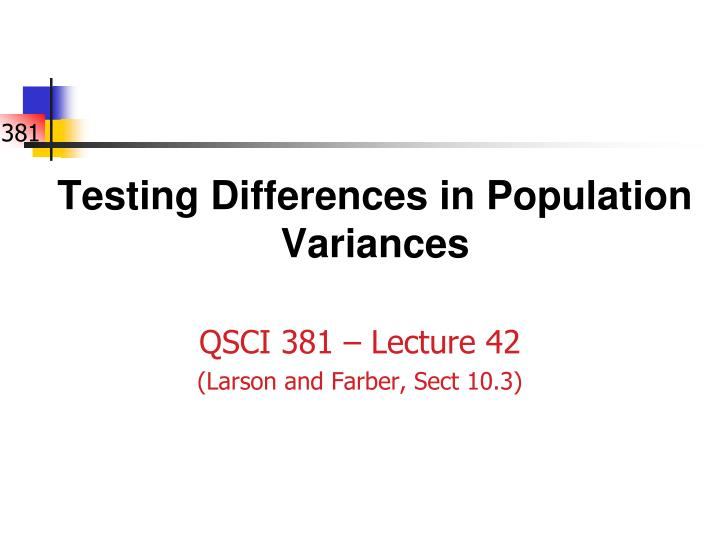 Testing differences in population variances