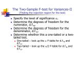 the two sample f test for variances ii finding the rejection region for the test