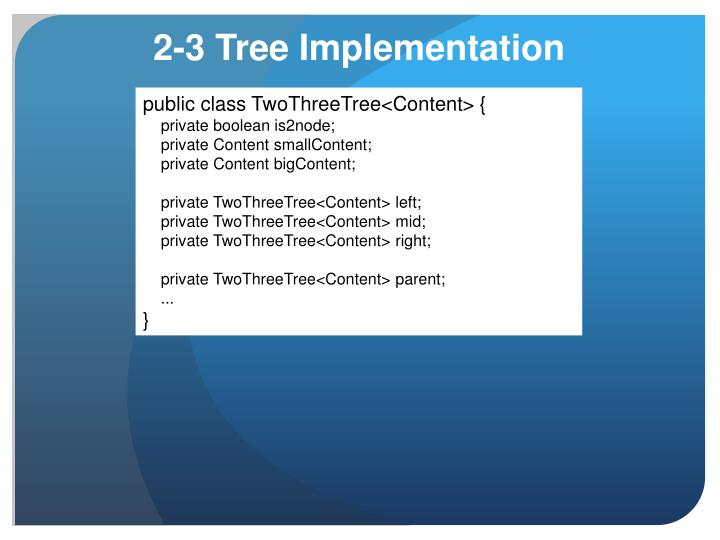 public class TwoThreeTree<Content> {