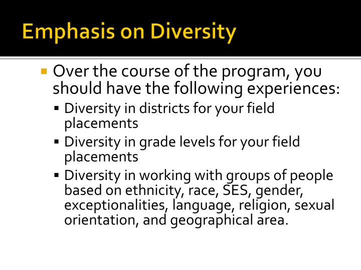 Emphasis on Diversity