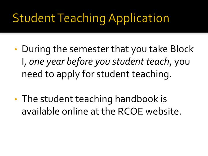 Student Teaching Application