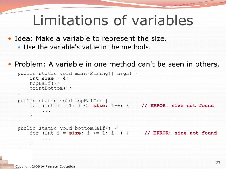 Limitations of variables