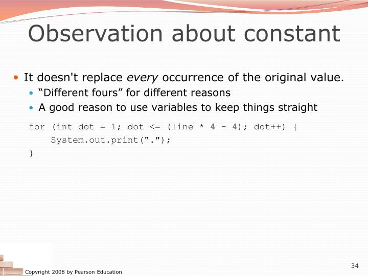 Observation about constant