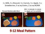 1 c milk c broccoli c carrots c apple c strawberries 2 oz eq grains 2 oz eq m ma