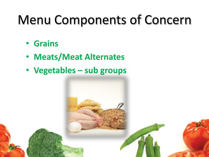 Menu Components of Concern