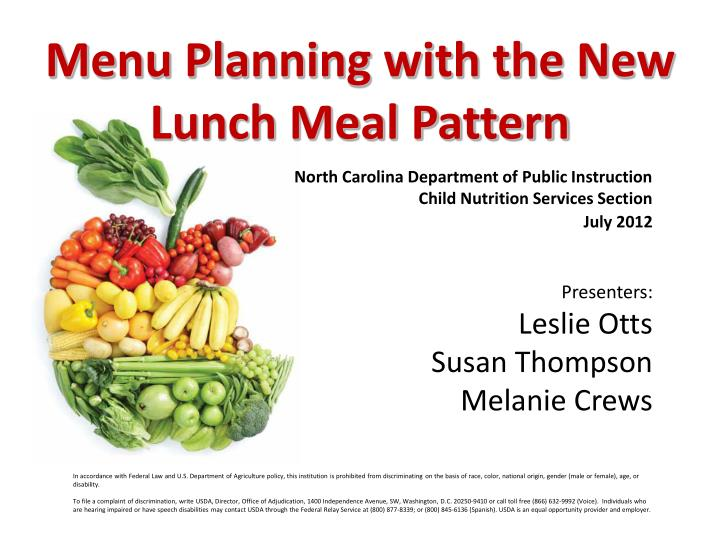 Menu planning with the new lunch meal pattern