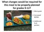 what changes would be required for this meal to be properly planned for grades 9 12