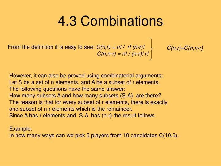4.3 Combinations