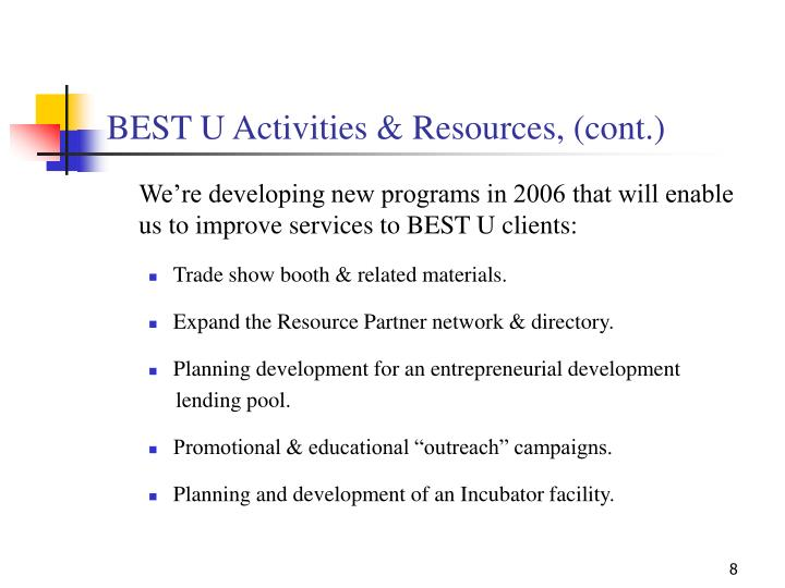 BEST U Activities & Resources, (cont.)