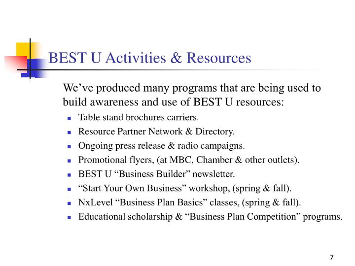 BEST U Activities & Resources