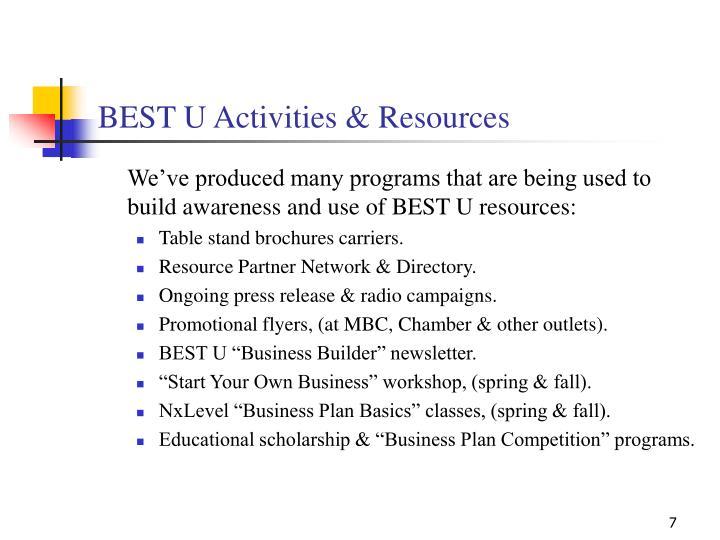 BEST U Activities & Resources