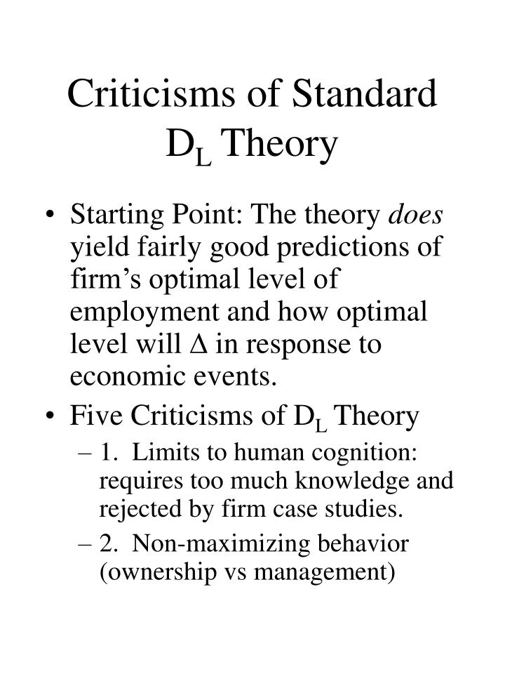 Criticisms of Standard D