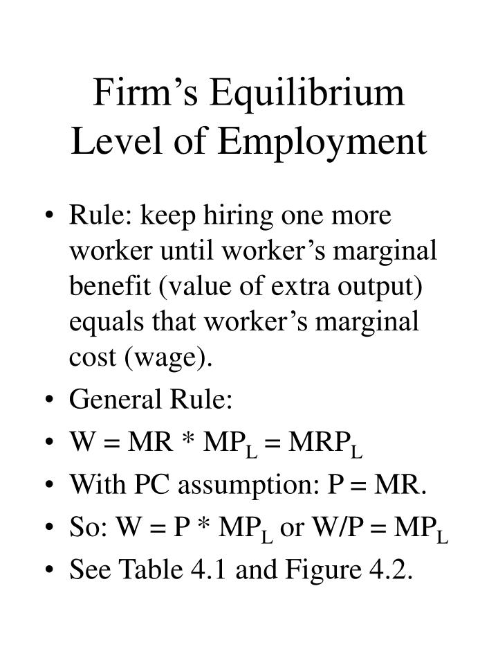 Firm's Equilibrium Level of Employment