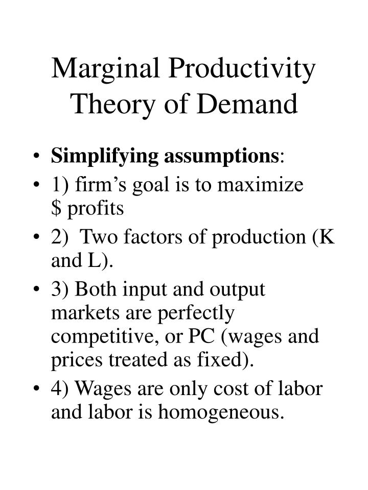 Marginal Productivity Theory of Demand