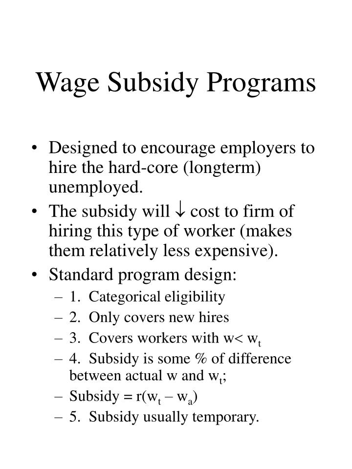 Wage Subsidy Programs