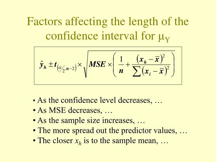 Factors affecting the length of the confidence interval for