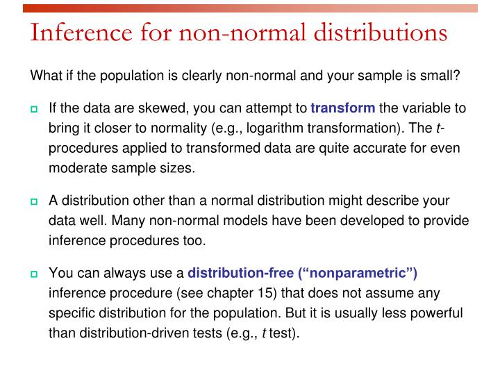 Inference for non-normal distributions