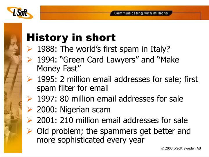 History in short